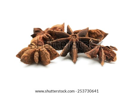 Pile of Anise stars isolated on white background