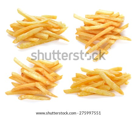 pile of appetizing french fries on a white background - stock photo