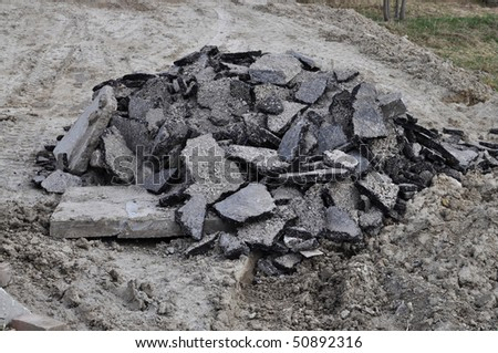 Pile of asphalt rubble