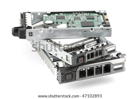 Pile of assembled hard drives: two 2.5-inch drives at the top and one 3.5-inch drive at the bottom. Isolated on white.