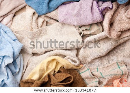 Pile of assorted dish rags - stock photo