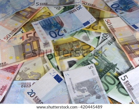Pile of Assorted Euro Banknotes 4 - stock photo