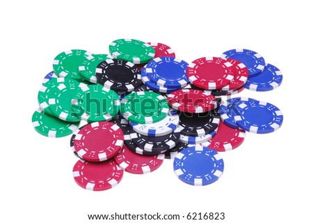 Pile of Assorted Poker Chips isolated over white background