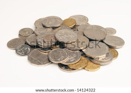 Pile of Australian coins - stock photo