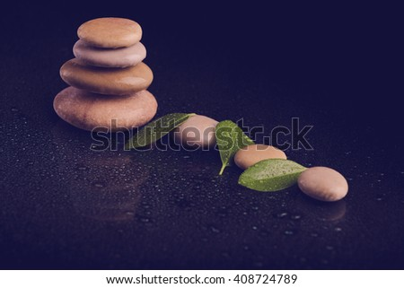 Pile of balancing pebble stones and green leaf with eater drop, ZEN stone, on black background, spa tranquil scene concept, retro color pastel tone - stock photo
