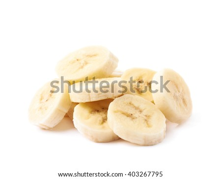 Pile of banana slices, composition isolated over the white background - stock photo