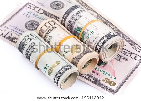 Pile of banknote on white background