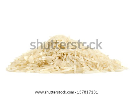 pile of basmati rice on white background - stock photo
