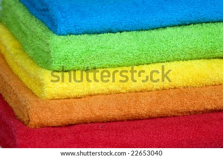 Pile of beautiful fluffy terry towels