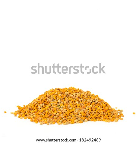 pile of bee pollen isolated on white background with space for writing