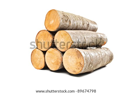 Pile of beech firewood isolated on white background