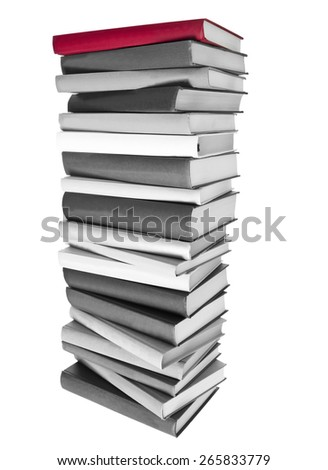 Pile of Black and white Books and a red book on top isolated on white background - stock photo