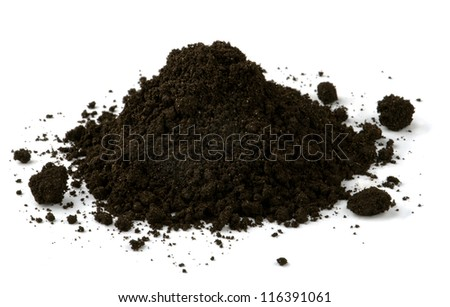 Pile of black fertile soil isolated on white - stock photo
