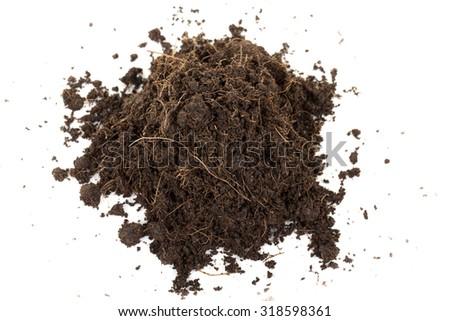 Pile of black fertile soil isolated on white - stock photo