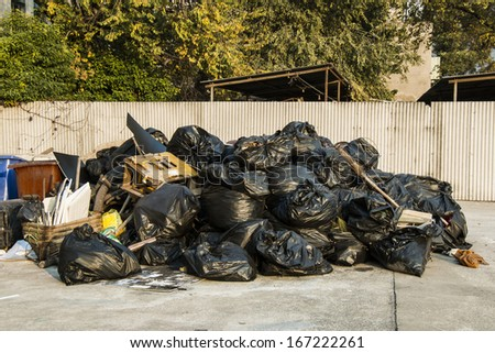 Pile of black garbage bags
