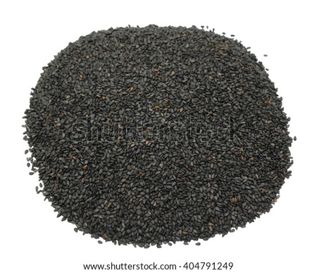 Pile of black sesame seeds isolated on white background