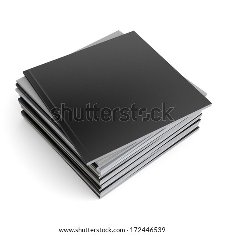 pile of blank black square catalogs or brochures on white. render  - stock photo