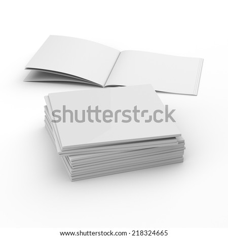 pile of blank square catalogs or brochure mock up isolated. 3d render