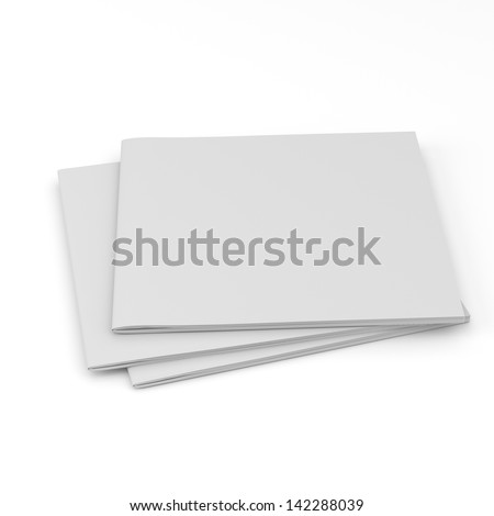 pile of blank square catalogs or brochures on white. render - stock photo