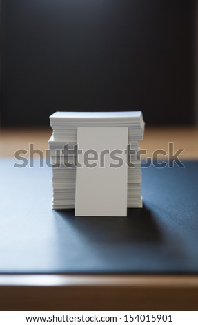Pile of blank white business cards