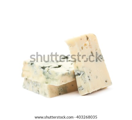 Pile of blue cheese slices isolated over the white background - stock photo