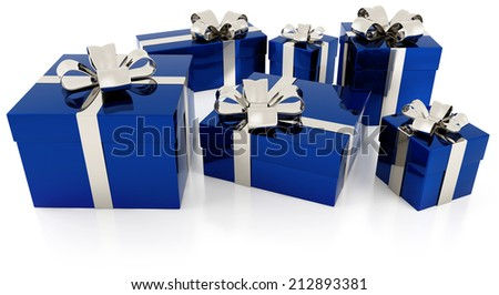 pile of blue gift parcels with silver ribbon - stock photo