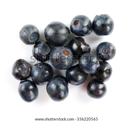 Pile of blueberries isolated on white - stock photo