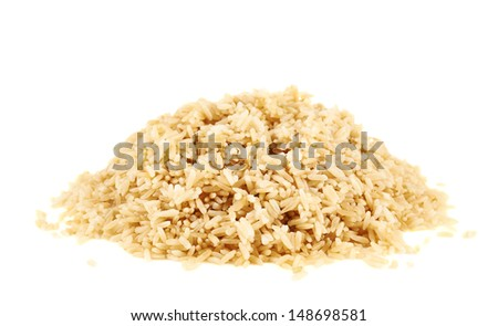 Pile of boiled brown rice isolated over white background - stock photo