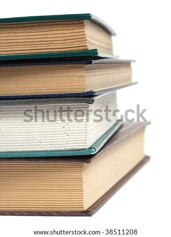 Pile of book over white