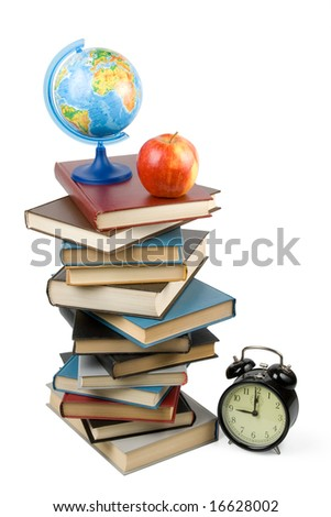"""Pile of books, alarm clock and apple isolated on a white background.  Concept for """"Back to school"""" - stock photo"""