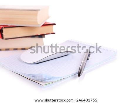 Pile of books and computer mouse isolated on white - stock photo
