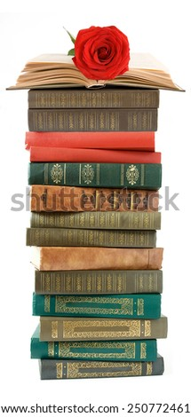 Pile of books and fresh red rose isolated on white - stock photo