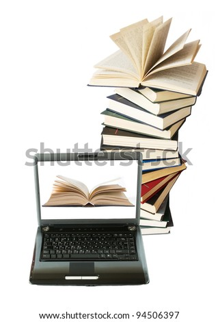 Pile of books and laptop isolated on white. Education concept - stock photo