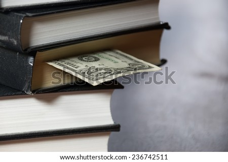 pile of books and money
