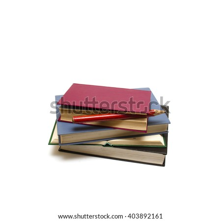 Pile of books and pencil on a white background  - stock photo