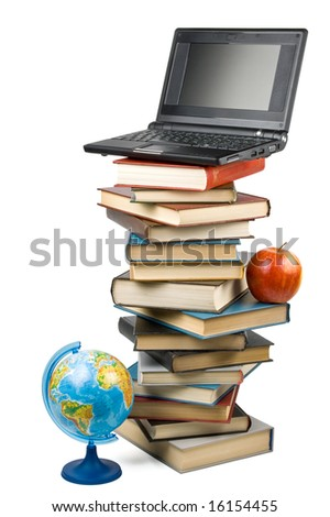 """Pile of books, apple, globe and notebook isolated on a white background.  Concept for """"Back to school"""" - stock photo"""
