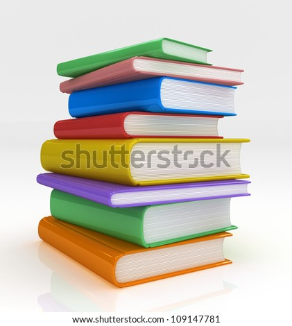 Pile of Books 3D rendered, isolated on white background - stock photo