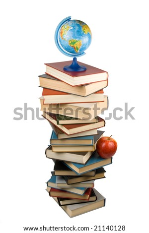 """Pile of books, globe and apple isolated on a white background.  Concept for """"Back to school"""" - stock photo"""