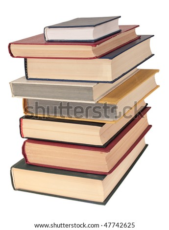 Pile of books, isolated on a white background - stock photo