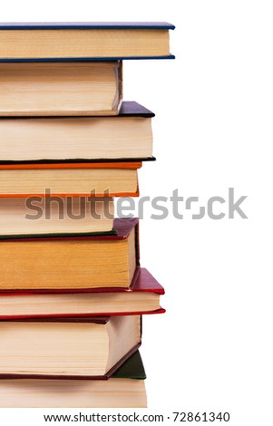 Pile of books isolated on a white background - stock photo
