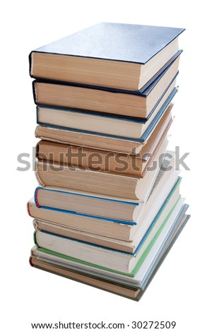 Pile Of Books Isolated On a White Background. Studio Work. Old Book's Cover. Education And Knowledge, Learn And Study Concept. Reading And Science, School And University.