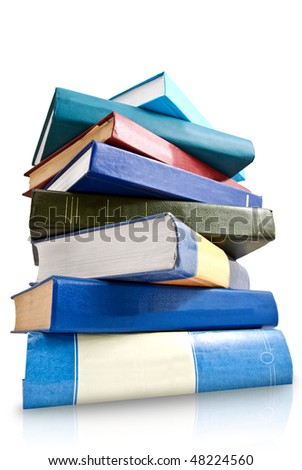 pile of books  isolated on white - stock photo