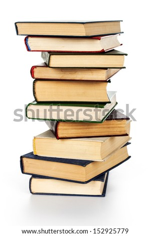 Pile of books isolated on white background. - stock photo