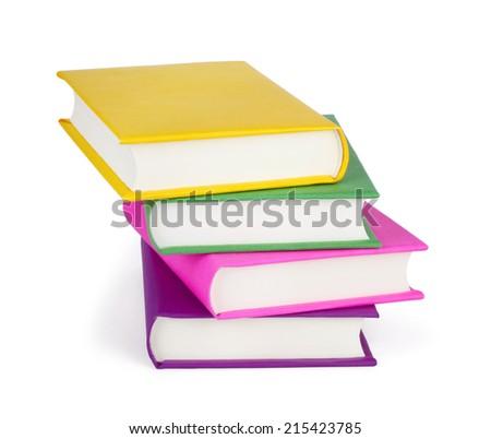Pile of Books isolated on white background - stock photo