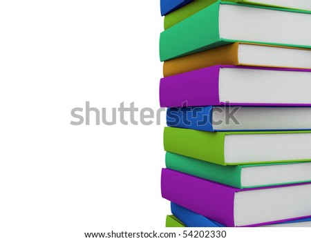 pile of books - isolated on white background - stock photo