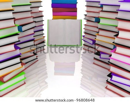 pile of books - isolated on white background - stock photo