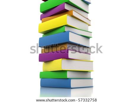 pile of books - isolated on white background - close up - stock photo