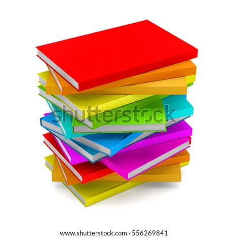 Pile of Books isolated on white background. 3D illustration
