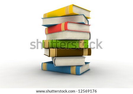 pile of books - isolated on white background - photorealistic 3d render - stock photo