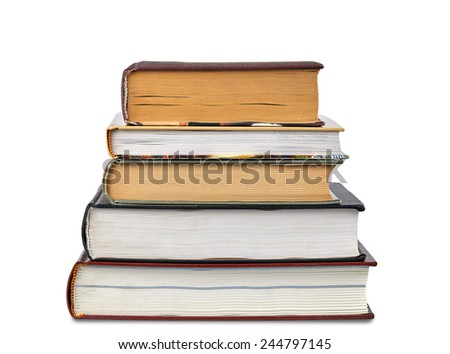 Pile of Books isolated over white background - stock photo